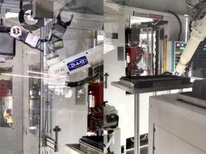 Dephina生产基地电机生产工位的机器人机械臂